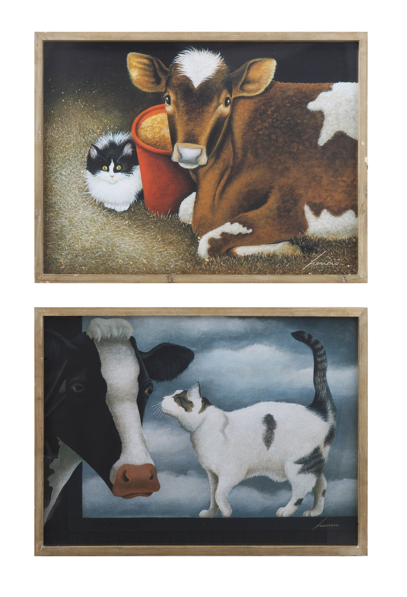 "24""W x 18""H Wood Framed Wall Décor w/ Cow & Cat, 2 Styles, Truck Ship ©"