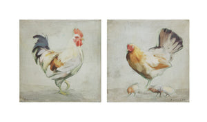 "16"" Square Canvas Wall Décor w/ Chicken, 2 Styles ©"