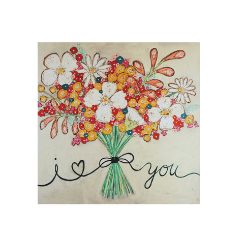 "16"" Square Canvas Wall Décor w/ Flower Bouquet ©"