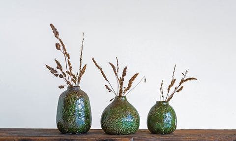"4-1/2"" Round x 6""H, 4-3/4"" Round x 4-3/4""H & 3-1/2"" Round x 4""H Terra-cotta Vases, Distressed Green, Set of 3 (Each One Will Vary)"