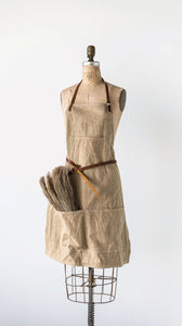 "34""L x 24""W Cotton Canvas Apron w/ Pockets & Leather Ties, Khaki"