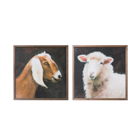 "20"" Square Wood Framed Wall Décor w/ Farm Animals, 2 Styles ©"