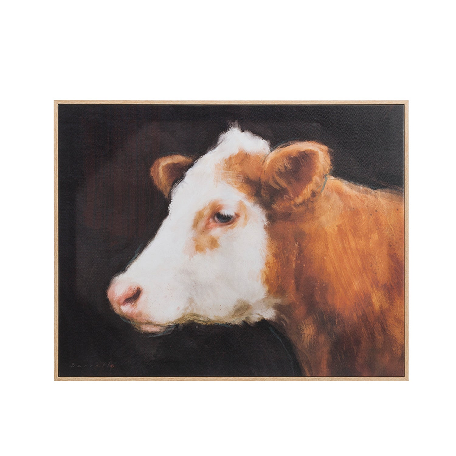 "31""W x 25""H Wood Framed Wall Décor w/ Cow, Truck Ship ©"