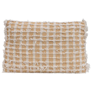 "22""L x 14""H Woven Cotton Pillow w/ Fringe, Natural & Mustard Color"