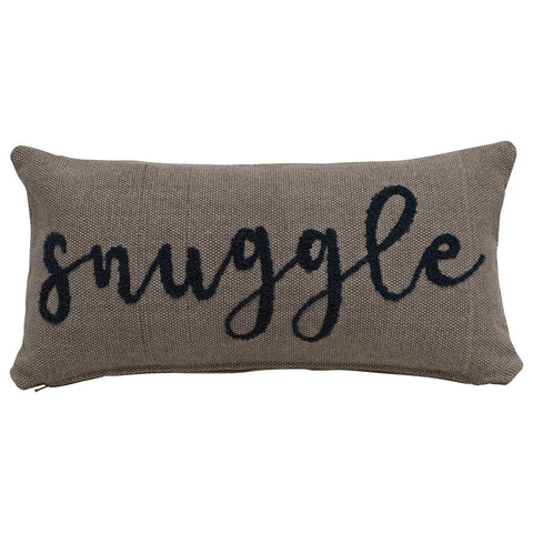 "24""L x 12""H Woven Cotton Lumbar Pillow w/ Embroidered ""Snuggle"", Grey & Navy Color"