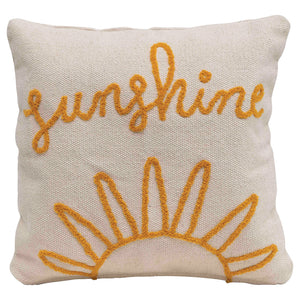 "18"" Square Woven Cotton Pillow w/ Embroidered ""Sunshine"", Natural & Mustard Color"