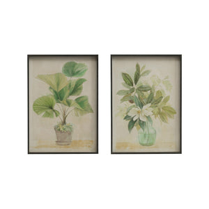 "15-3/4""W x 22""H Metal Framed Wall Décor w/ Botanical Image, 2 Styles, Truck Ship ©"