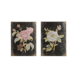 "17""W x 23-1/4""H Burlap & Wood Wall Décor w/ Rose Image, Distressed Finish, 2 Styles ©"
