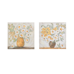 "20"" Square Canvas Wall Décor w/ Flowers in Vase, 2 Styles ©"