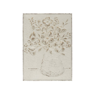 "17-1/2""W x 24""H Embossed Metal Wall Décor w/ Flowers in Vase, Distressed White ©"