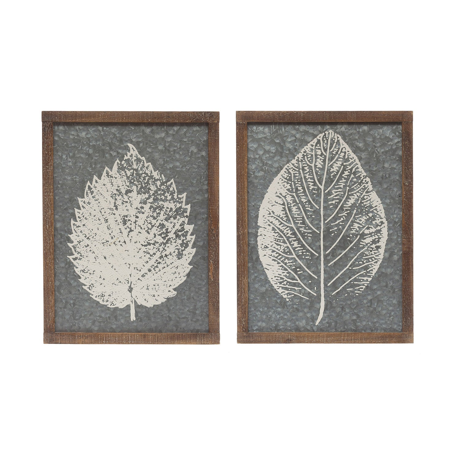 "12-1/2""W x 16-1/2""H Wood Framed Galvanized Metal Wall Décor w/ Leaf Image, 2 Styles"