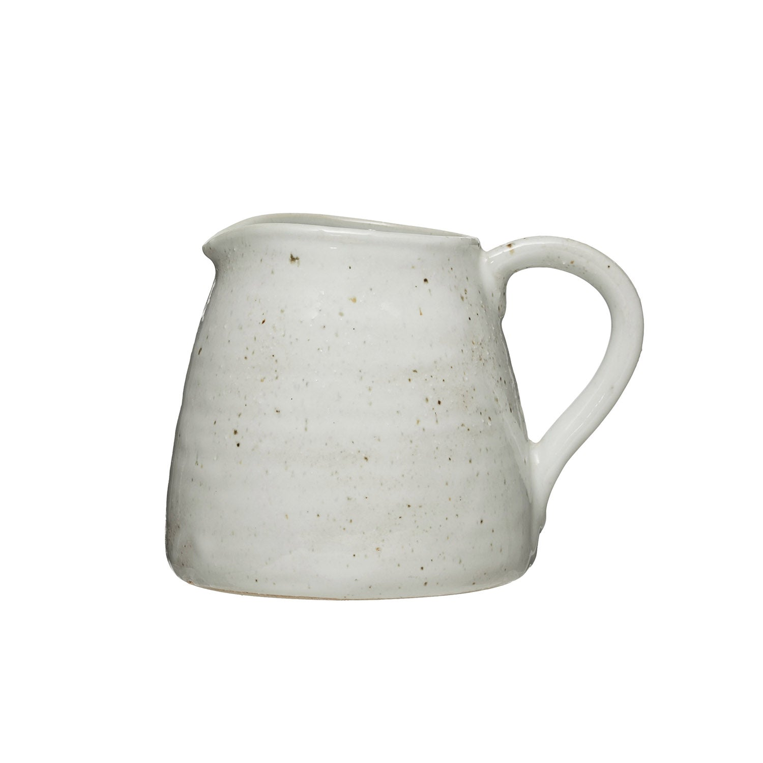 "7-1/4""L x 5""W x 5-3/4""H 32 oz. Stoneware Pitcher, Reactive Glaze, Matte Cream Color, Truck Ship (Each One Will Vary)"