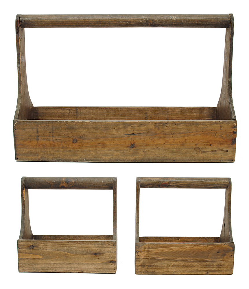 "20""L x 6-1/4""W x 13-1/4""H & (2) 9-1/4""L x 4-3/4""W x 9""H Wood Trugs w/ Handles, Set of 3"