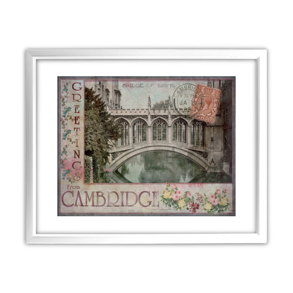 Bridge of Sighs, Cambridge 11x14 Framed Print (White)