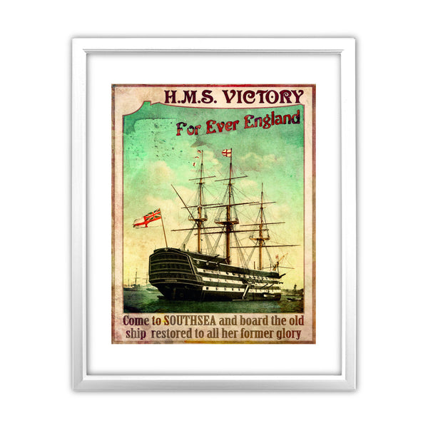 HMS Victory, Southsea 11x14 Framed Print (White)