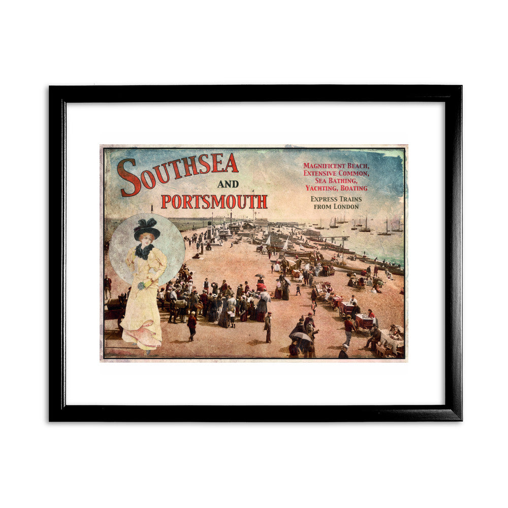 Southsea and Portsmouth 11x14 Framed Print (Black)