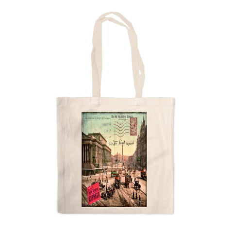 Lime Street and St Georges Hall, Liverpool Canvas Tote Bag