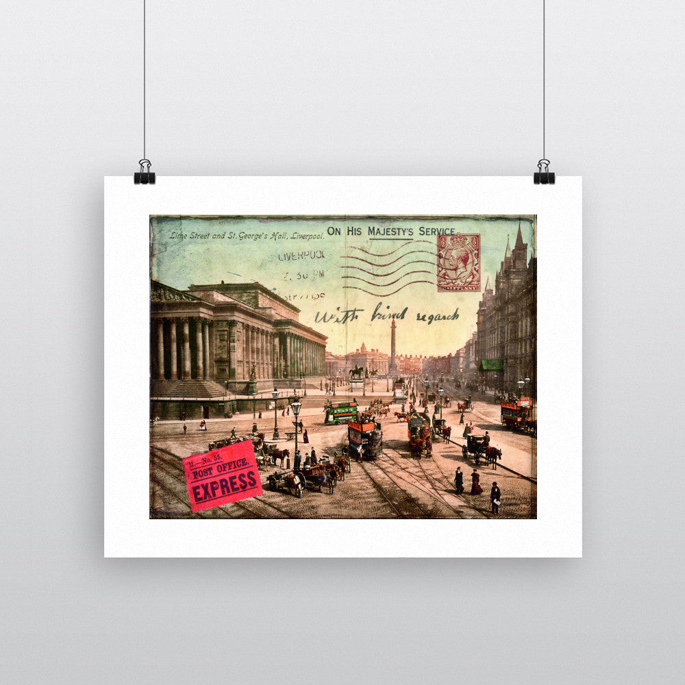 Lime Street and St Georges Hall, Liverpool 90x120cm Fine Art Print