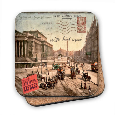 Lime Street and St Georges Hall, Liverpool MDF Coaster
