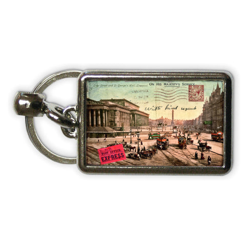 Lime Street and St Georges Hall, Liverpool Metal Keyring