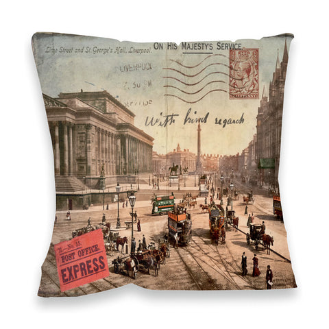 Lime Street and St Georges Hall, Liverpool Fibre Filled Cushion