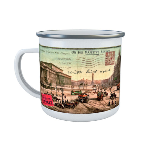 Lime Street and St Georges Hall, Liverpool Enamel Mug