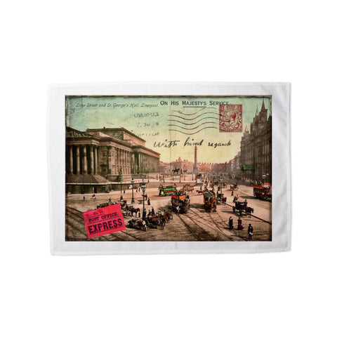 Lime Street and St Georges Hall, Liverpool Tea Towel