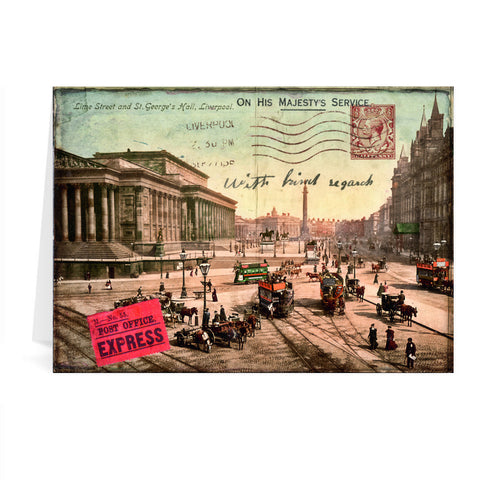 Lime Street and St Georges Hall, Liverpool Greeting Card 7x5