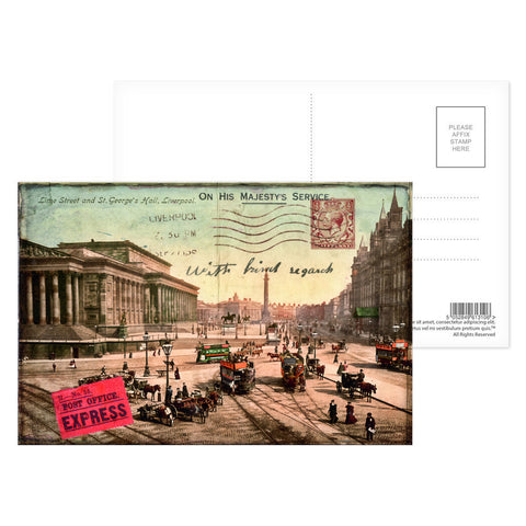 Lime Street and St Georges Hall, Liverpool Postcard Pack