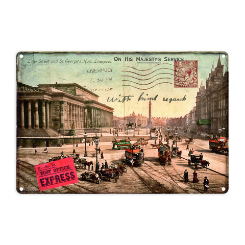 Lime Street and St Georges Hall, Liverpool Metal Sign