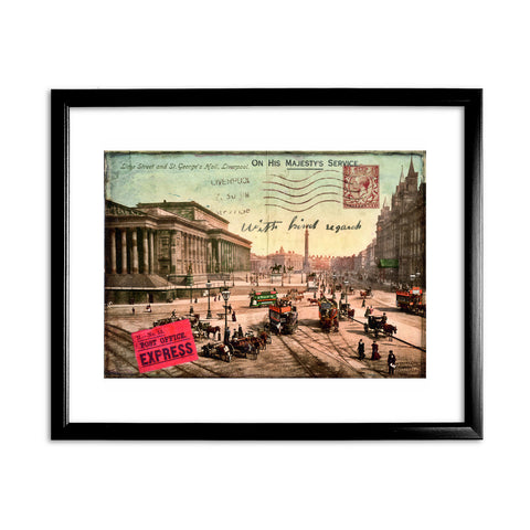 Lime Street and St Georges Hall, Liverpool 11x14 Framed Print (Black)