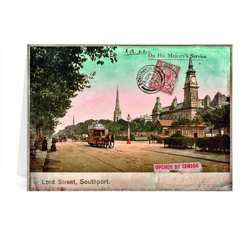 Lord Street, Southport, Lancashire Greeting Card 7x5