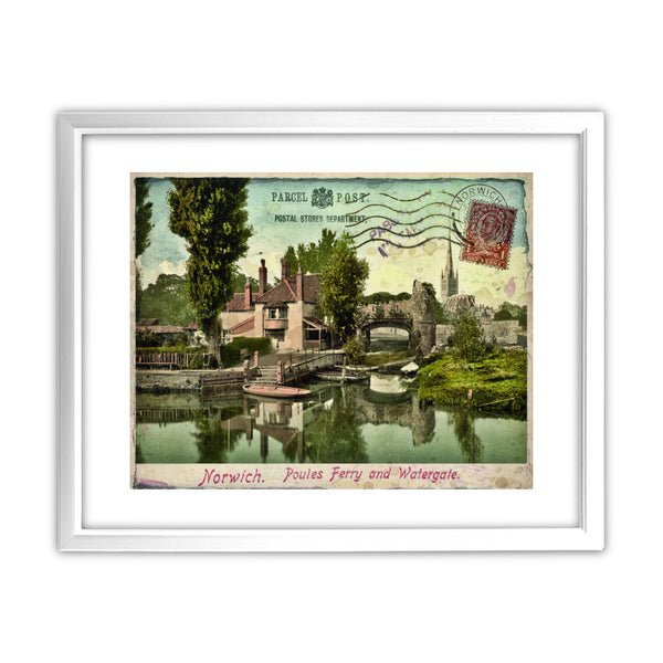 Poules Ferry and Watergate, Norwich 11x14 Framed Print (White)