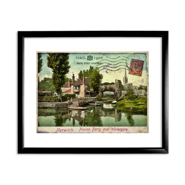 Poules Ferry and Watergate, Norwich 11x14 Framed Print (Black)