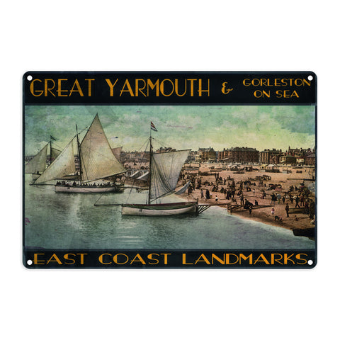 Great Yarmouth and Gorleston on Sea Metal Sign