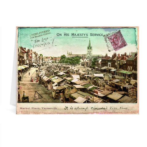 Market Place, Great Yarmouth Greeting Card 7x5
