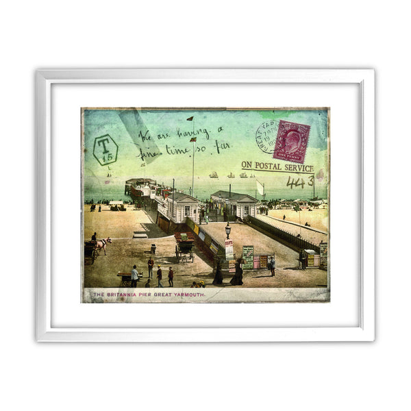 Britannia Pier, Great Yarmouth 11x14 Framed Print (White)