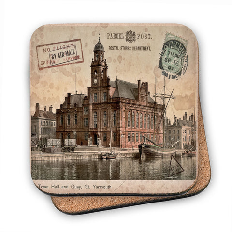 Town Hall and Quay, Great Yarmouth MDF Coaster