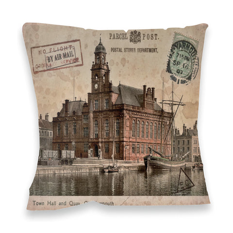 Town Hall and Quay, Great Yarmouth Fibre Filled Cushion