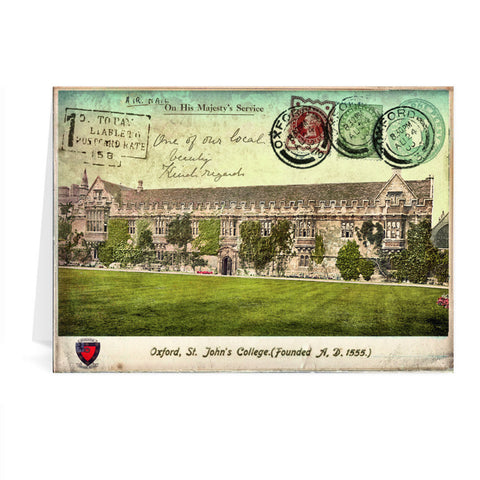 St Johns College, Oxford Greeting Card 7x5