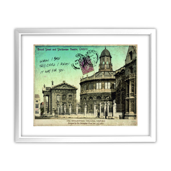 Broad Street and Sheldonian Theatre, Oxford 11x14 Framed Print (White)