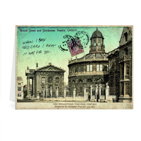 Broad Street and Sheldonian Theatre, Oxford Greeting Card 7x5