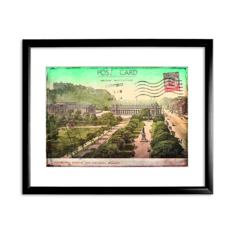 Edinburgh Castle and National Gallery, Scotland 11x14 Framed Print (Black)