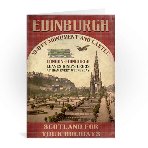 The Scott Monument and Castle, Edinburgh, Scotland Greeting Card 7x5