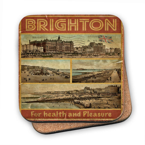 Brighton, For Health and Pleasure MDF Coaster