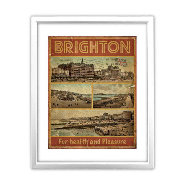 Brighton, For Health and Pleasure 11x14 Framed Print (White)
