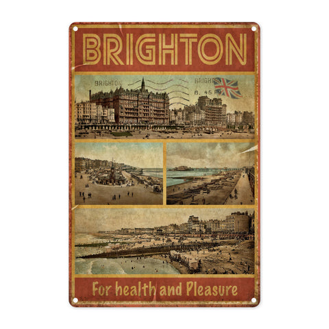 Brighton, For Health and Pleasure Metal Sign