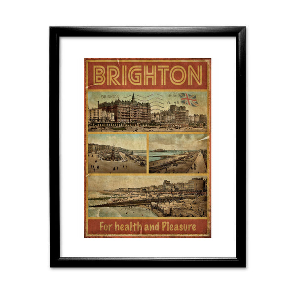 Brighton, For Health and Pleasure 11x14 Framed Print (Black)