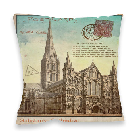 Sailsbury Cathedral, Wiltshire Fibre Filled Cushion