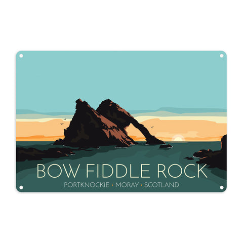 Bow Fiddle Rock, Moray, Scotland Metal Sign